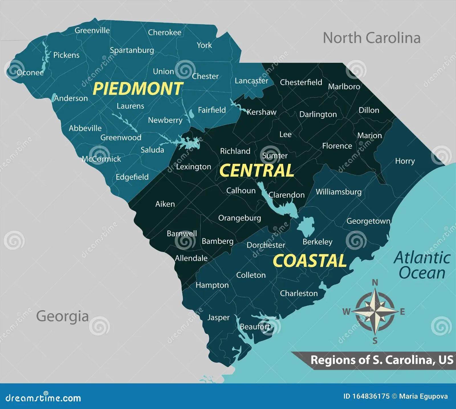 Kaart Van De Staat South Carolina Vs Vector Illustratie