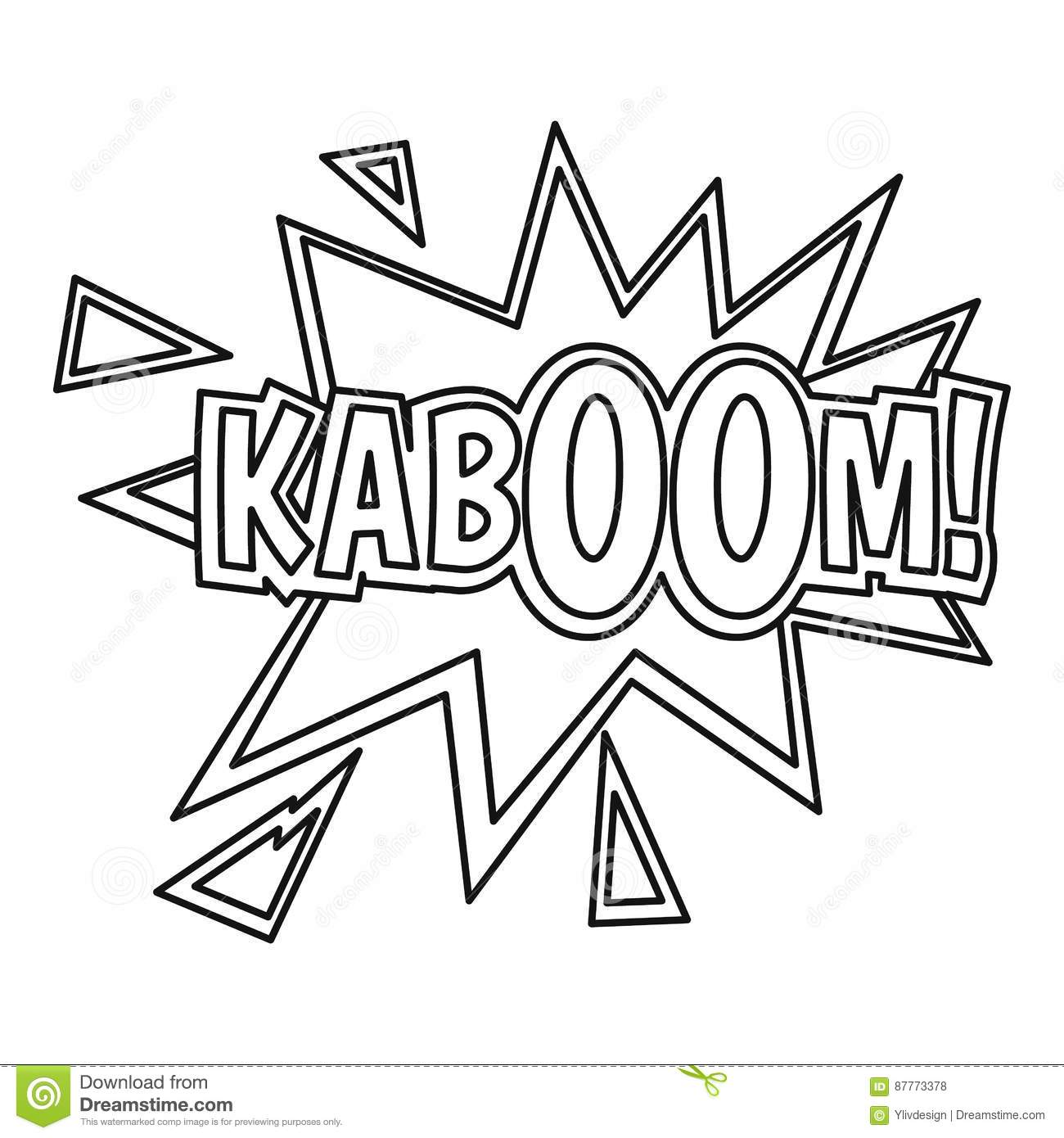 Kaboom Comic Book Explosion Icon Outline Style Stock