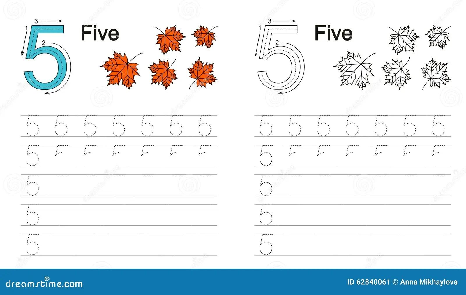 Kalkowania Worksheet Dla Postaci 5 Ilustracja Wektor