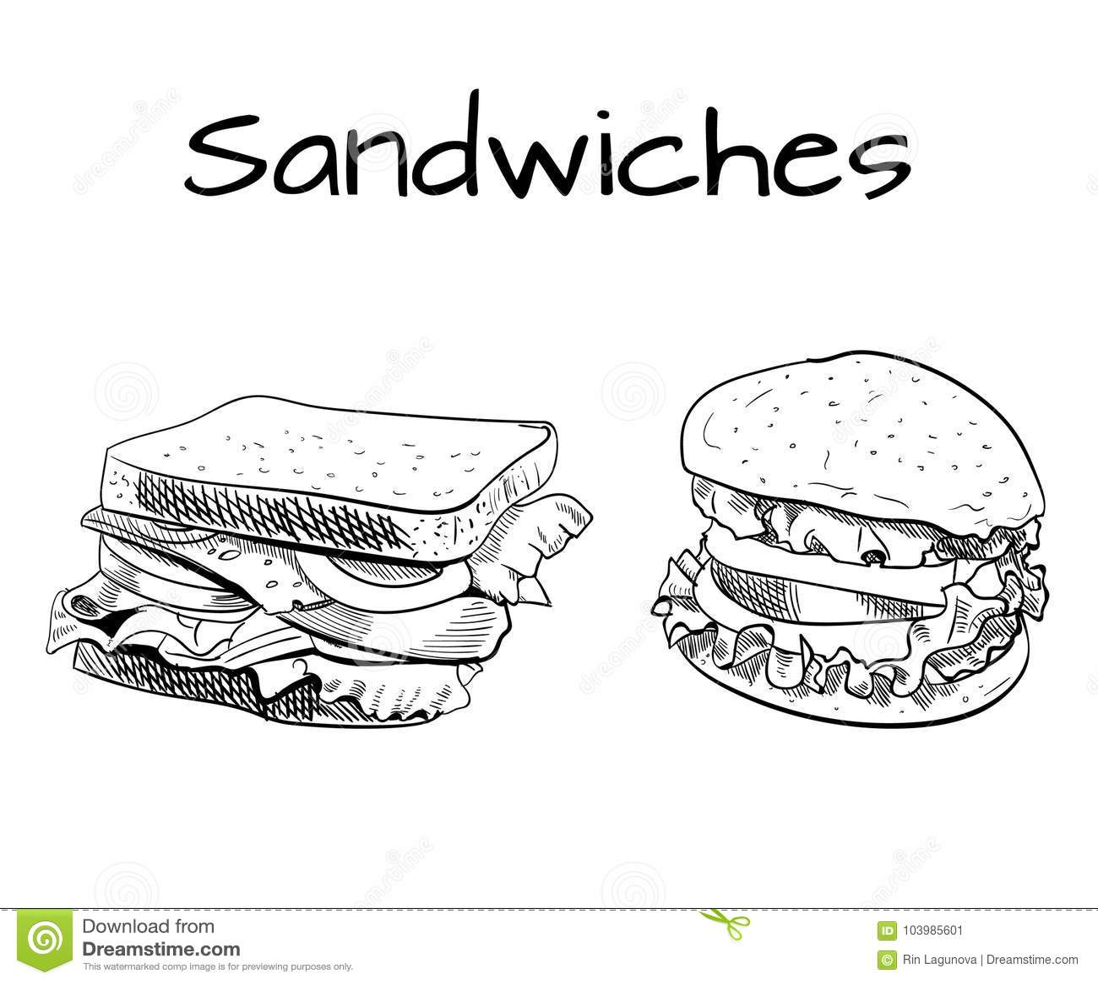 Kanapki I Hamburgeru Konturu Rysunek Wektorowy Nakre Lenie