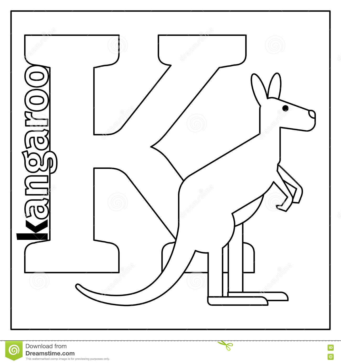 Kangaroo Letter K Coloring Page Stock Vector