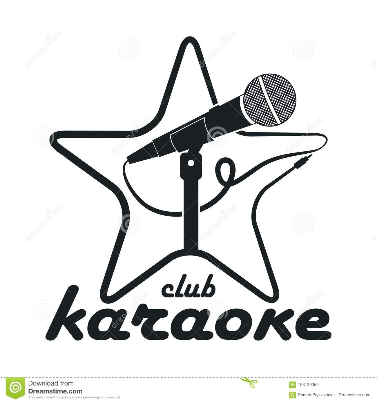 Karaoke Club Design Logo With Microphone On Stand And