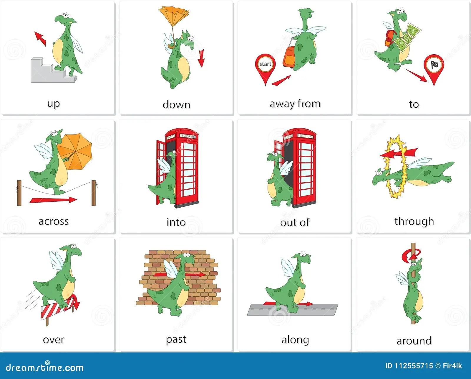 Karikaturdracheprapositionen Der Bewegung Englische
