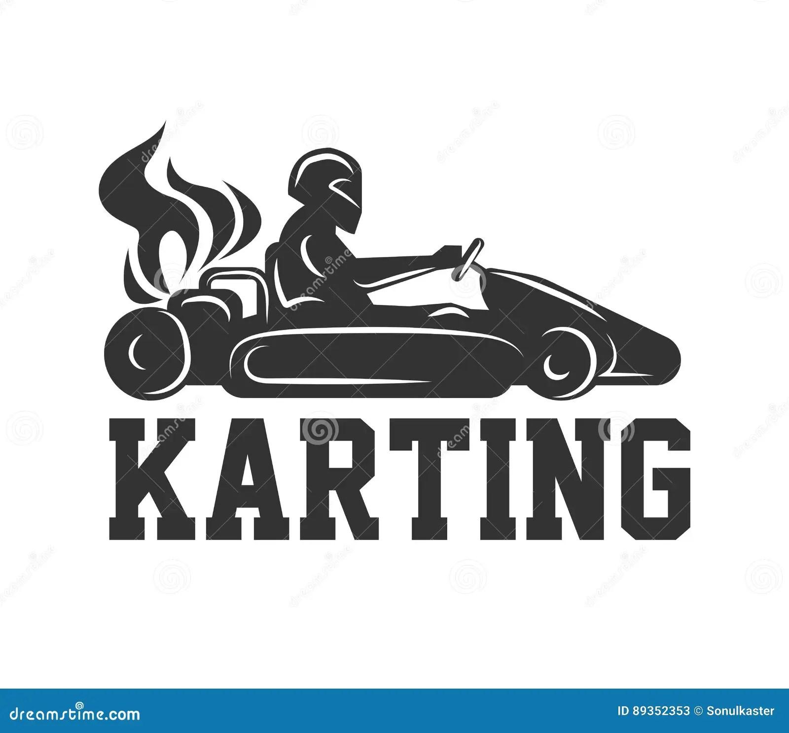 Karting Logo Racing Sport Car With Driver In Helmet