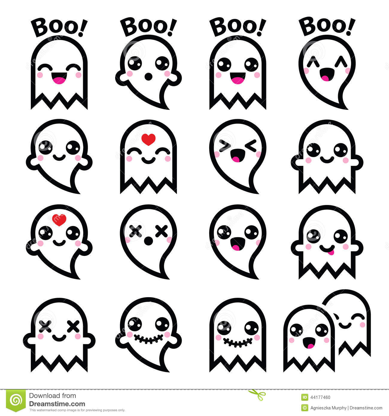 Kawaii Cute Ghost For Halloween Icons Set Stock
