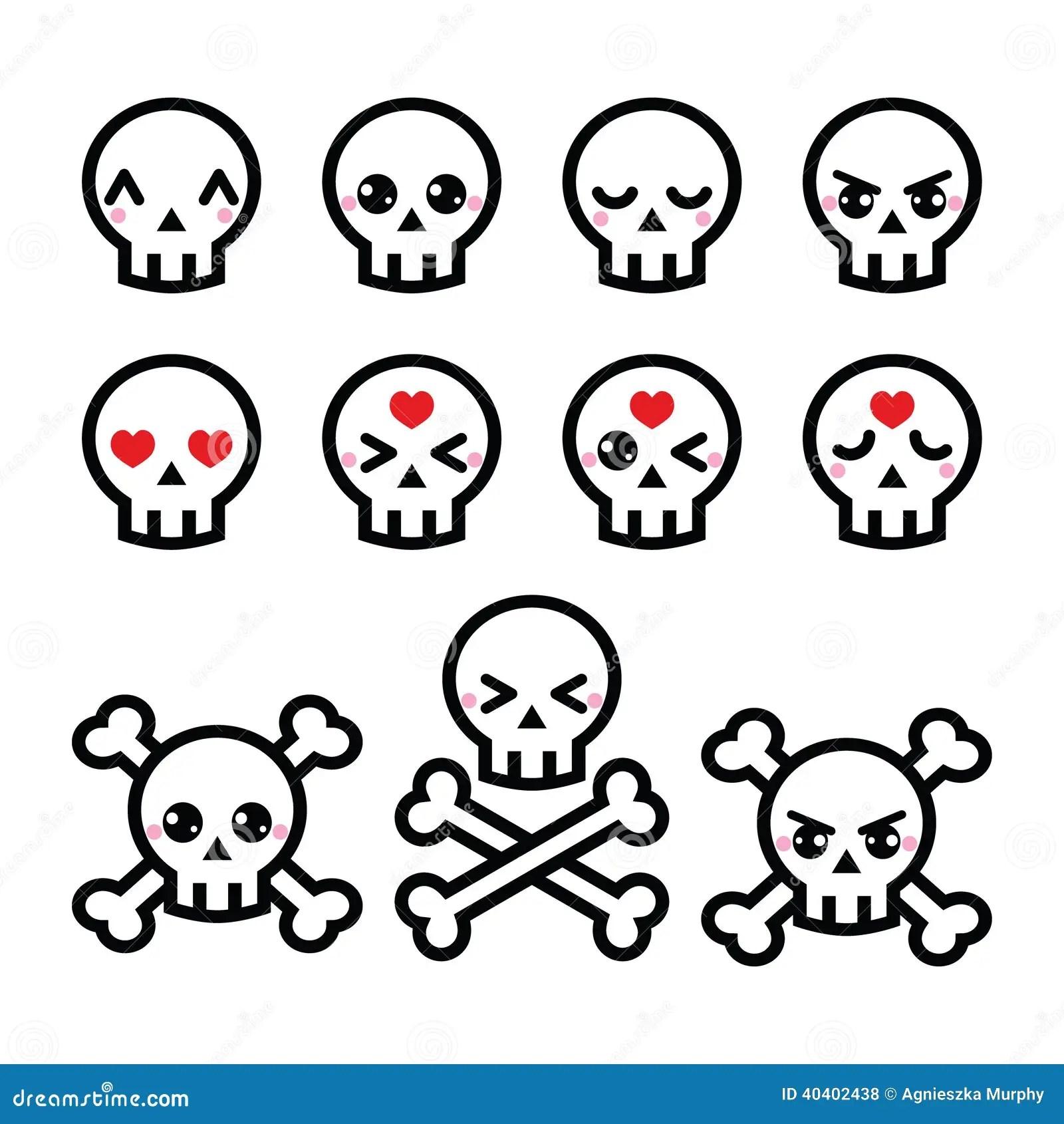 Kawaii Cute Halloween Skull Icons Set Stock Vector