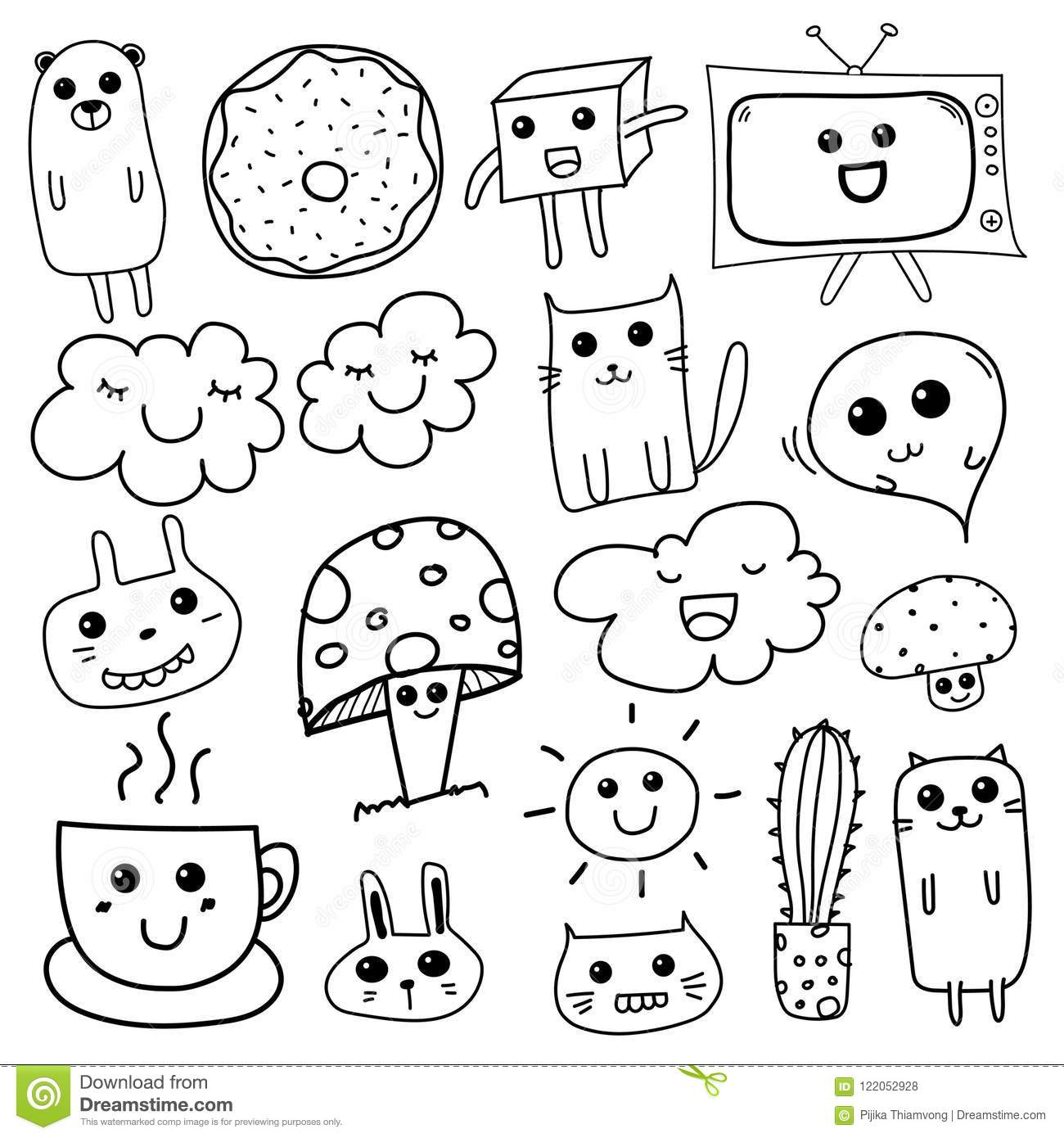 Kawaii Doodle For Kids Stock Vector Illustration Of