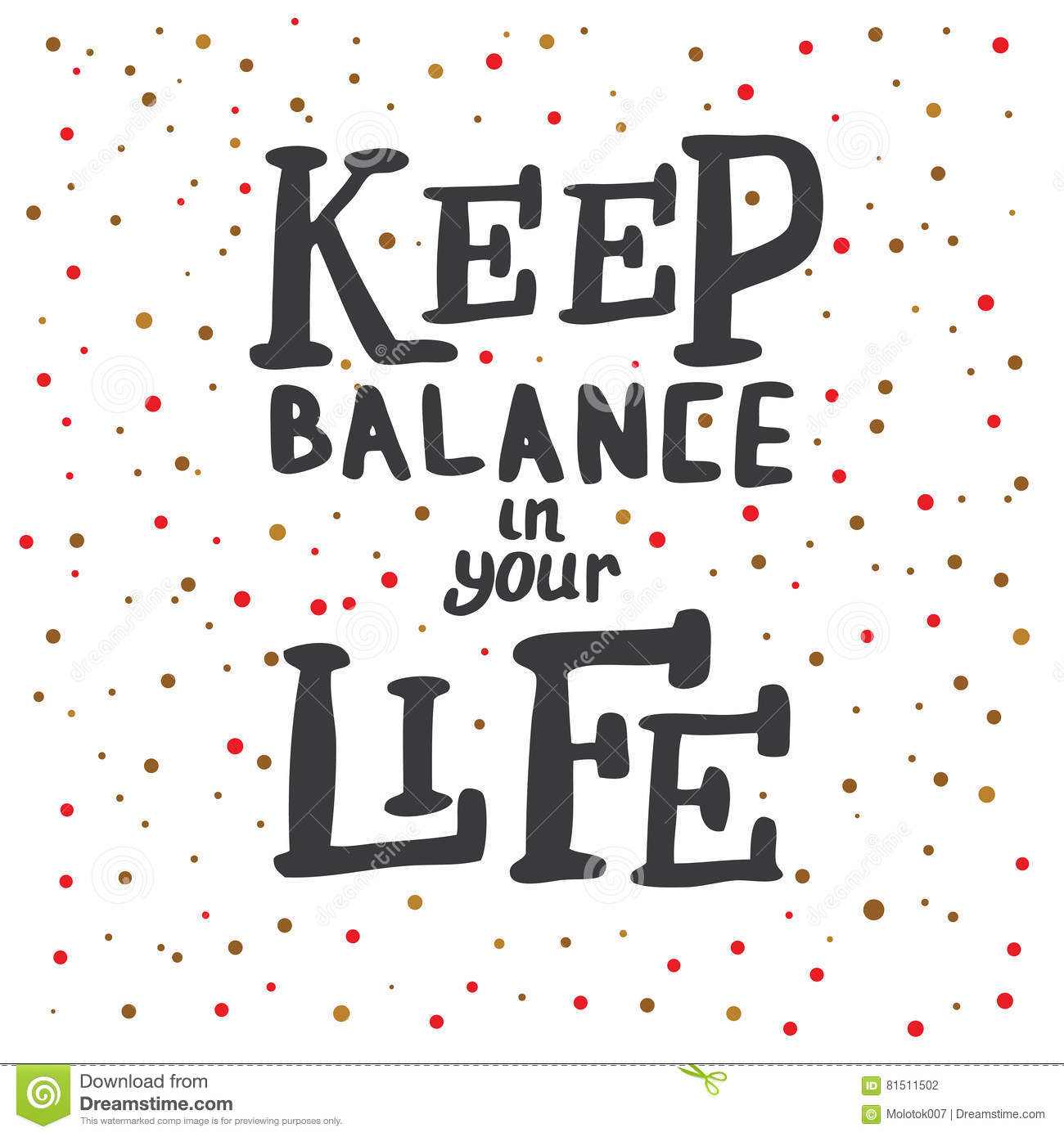Keep Balance In Your Life Lettering Stock Vector