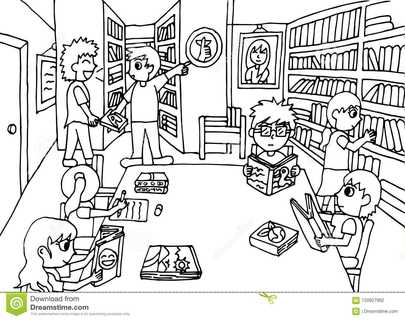 Keep Quiet In The Library Stock Illustration Illustration