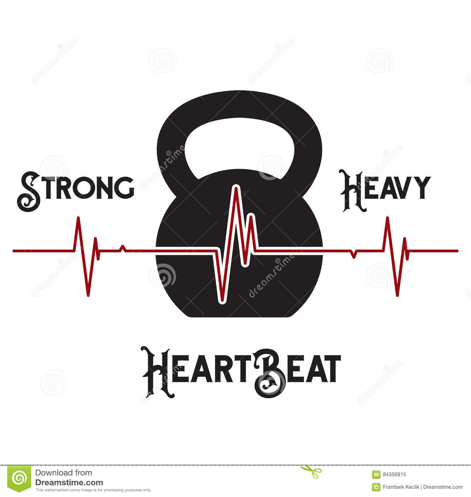 Kettlebell Heartbeat Concept Stock Vector