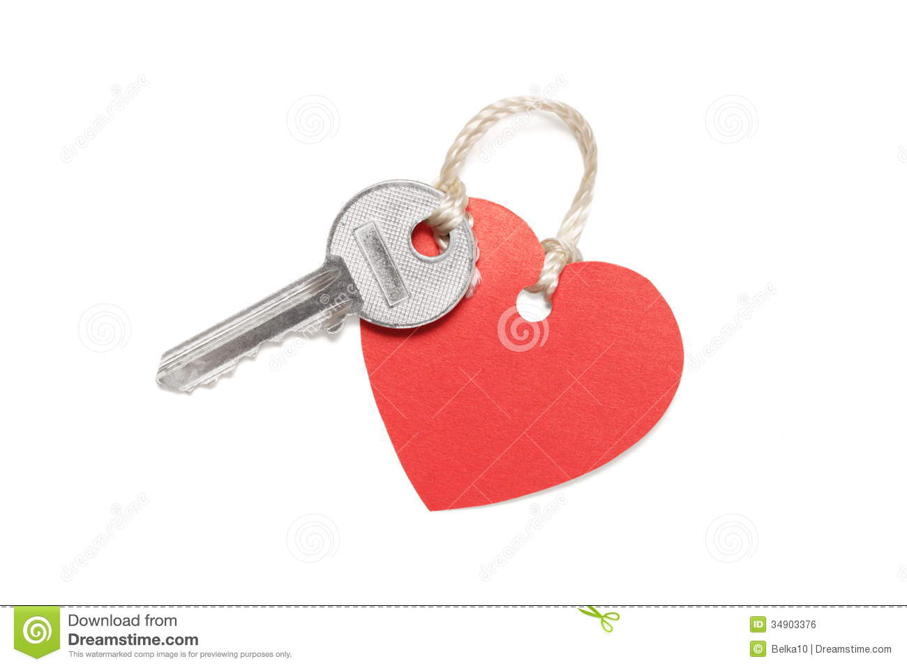 Key With Heart Shaped Label Royalty Free Stock Image
