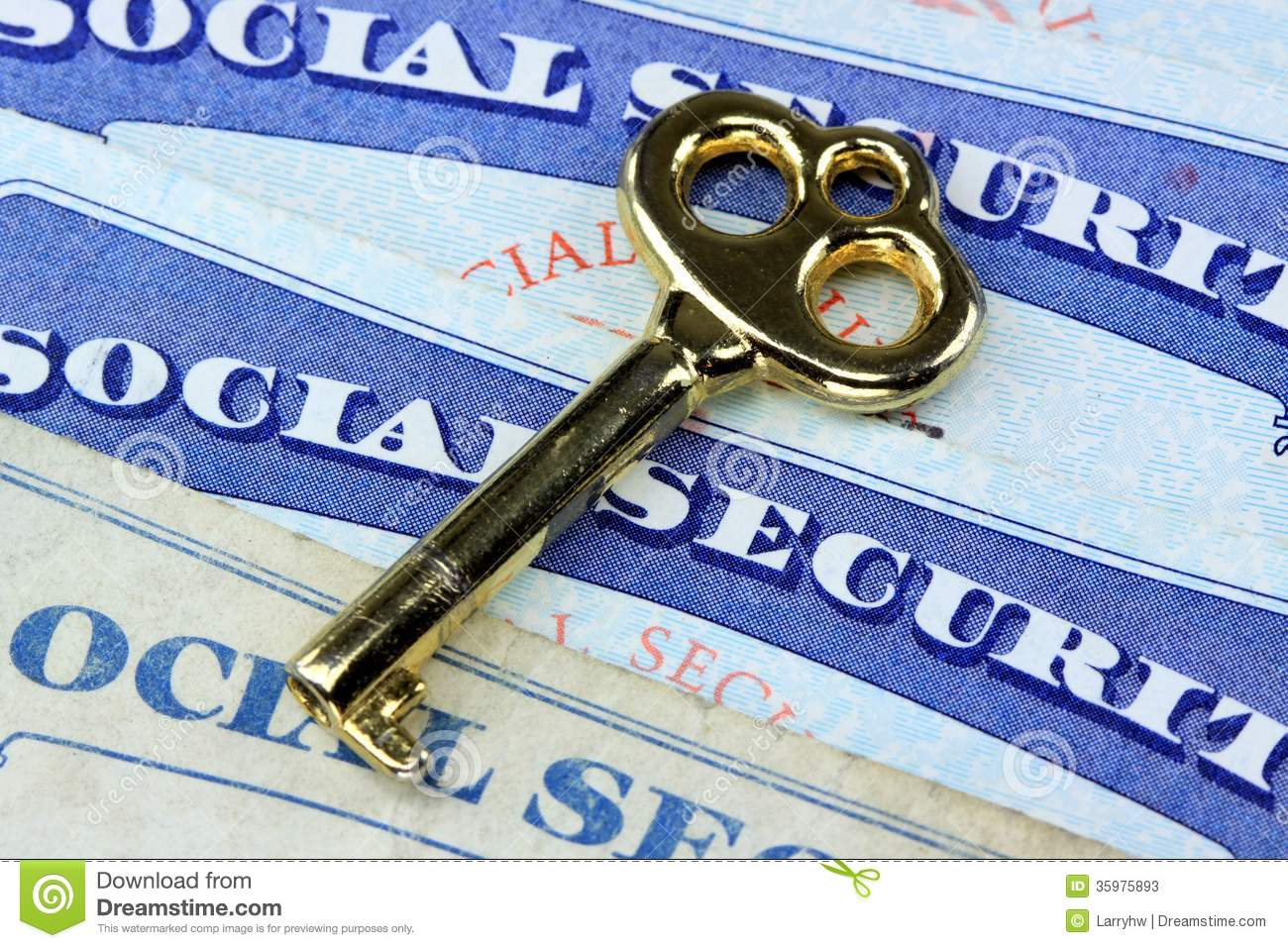 The Key To Social Security Benefits Stock Image