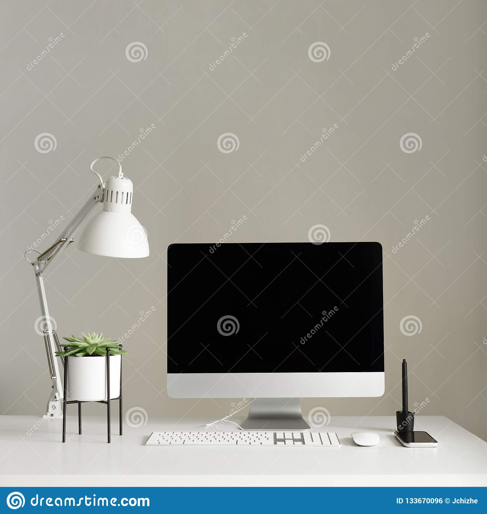Keyboard Mouse Computer Display With Black Blank Screen