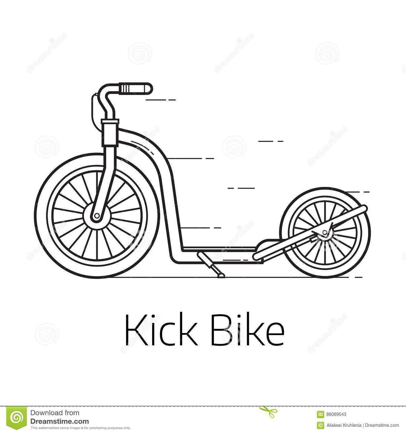 Kick Bike Scooter For Extreme Cartoon Vector