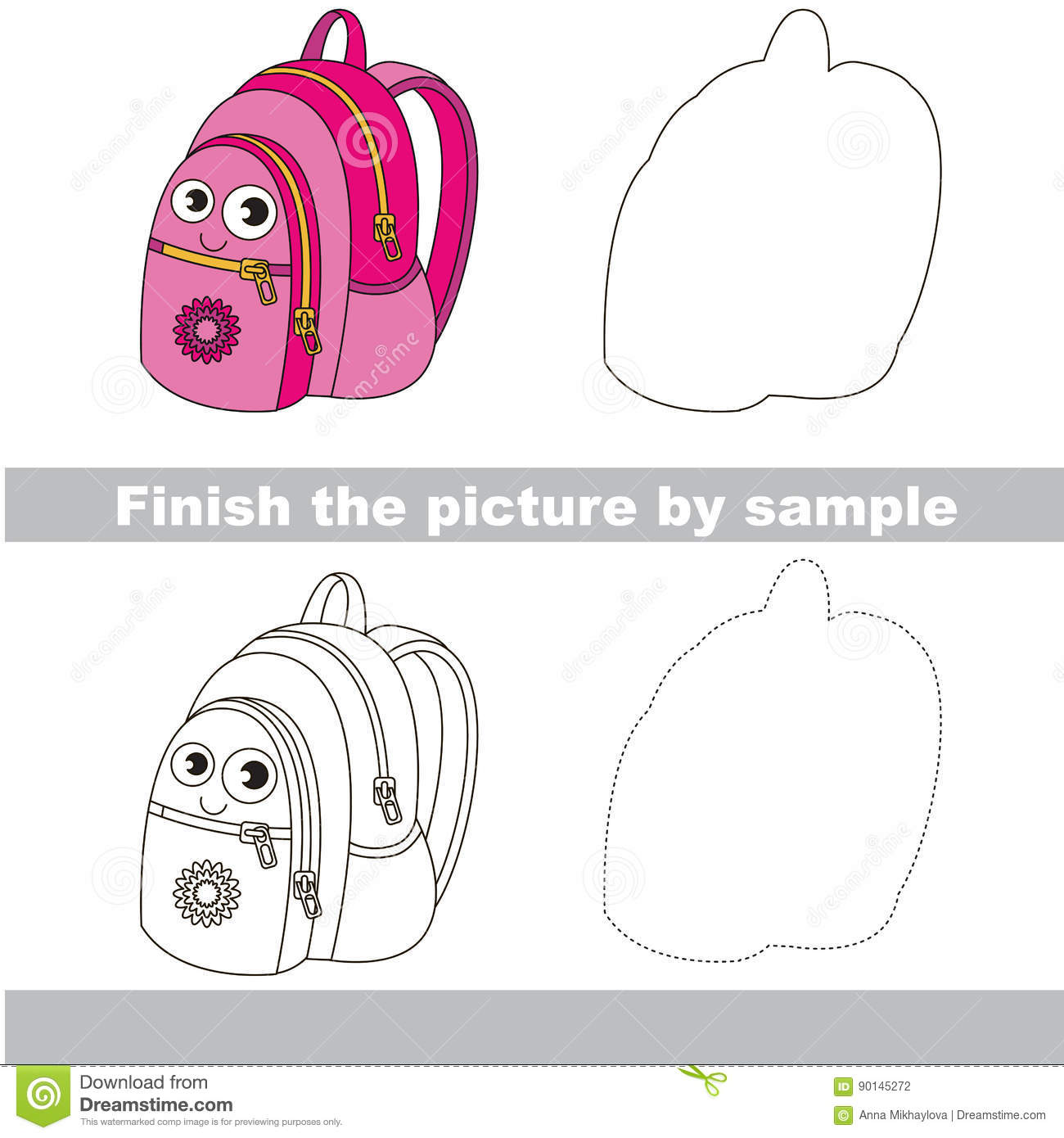 Kid Drawing Worksheet To Complete Picture By Sample Stock