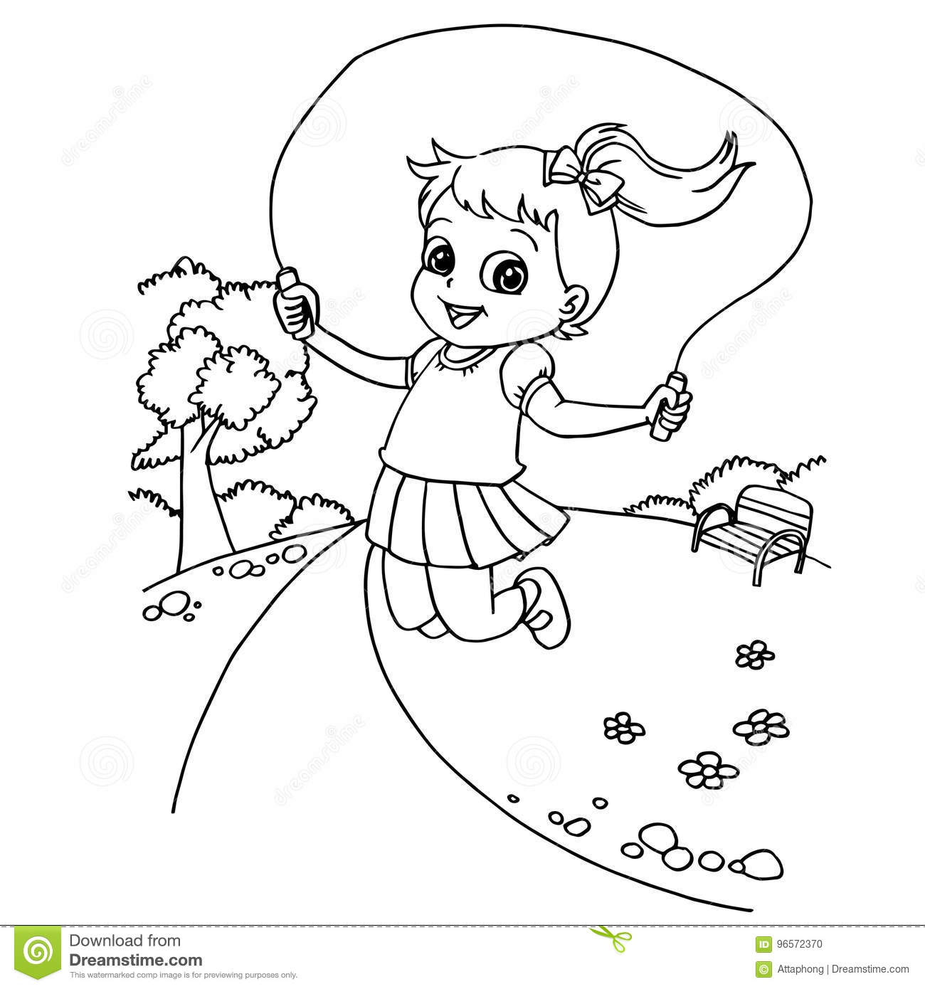 Kid Jumping Rope Cartoon Coloring Page Vector Stock Vector