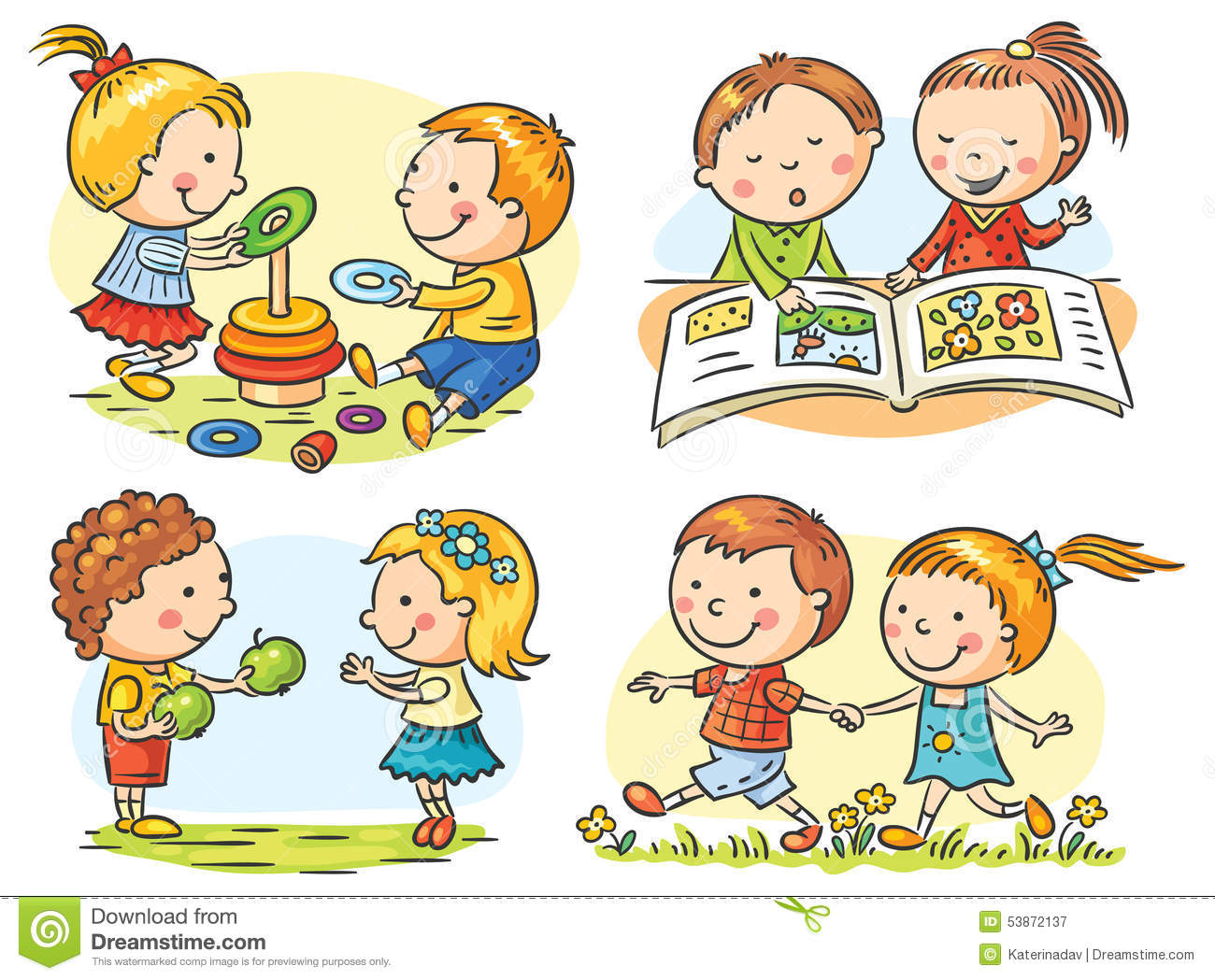 Kids Activities Set Stock Vector