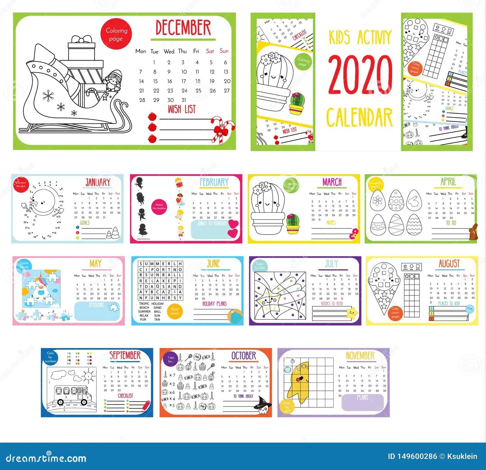 Kids Activity Calendar Annual Calendar With