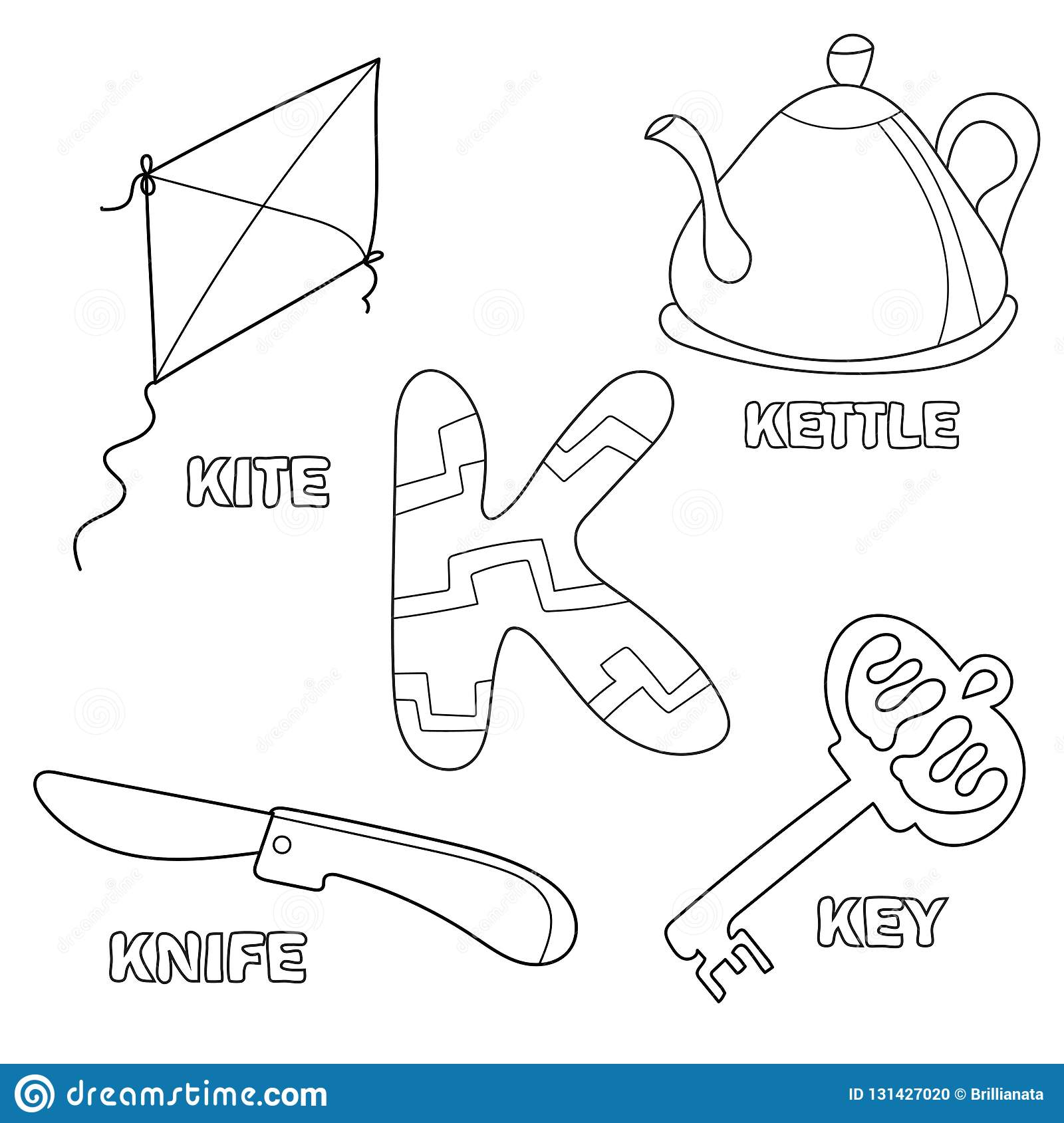 Kids Alphabet Coloring Book Page With Outlined Clip Arts