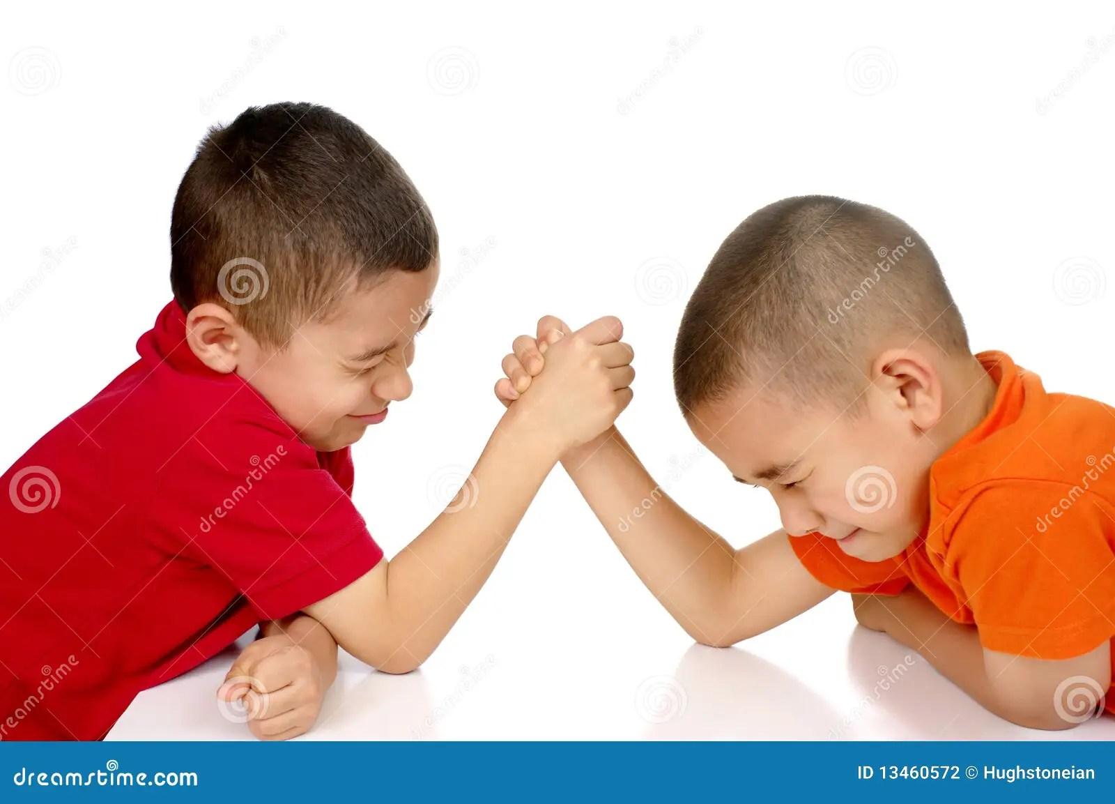 Kids Arm Wrestling Stock Photography