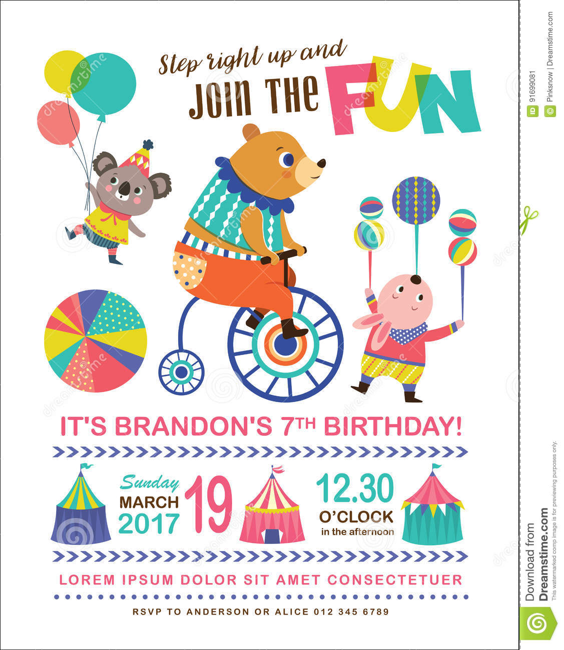kids birthday invitation card stock vector illustration of party circus 91699081