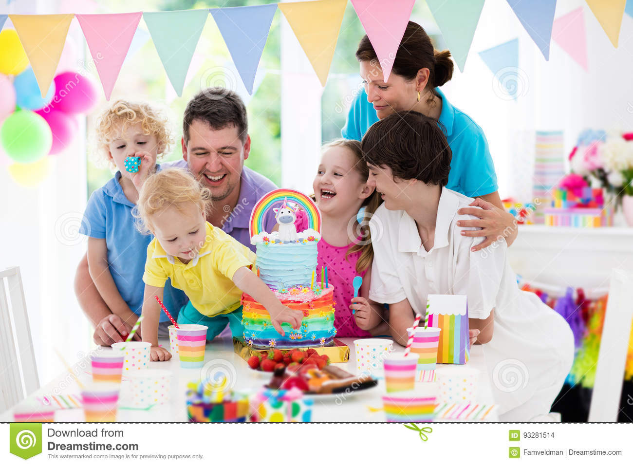 Kids Birthday Party Family Celebration With Cake Stock