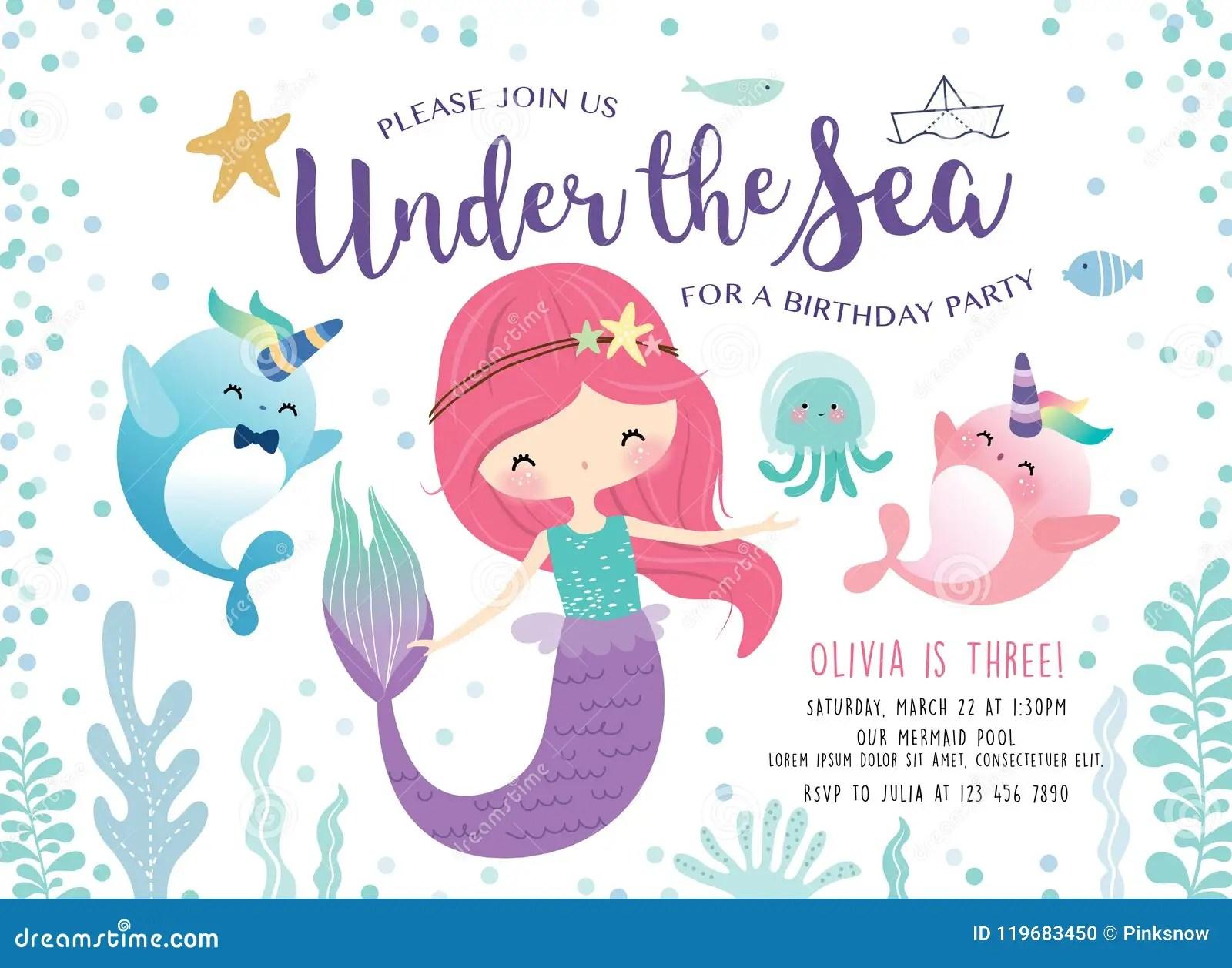 https www dreamstime com kids birthday party invitation card cute little mermaid marine life kids under sea birthday party invitation card image119683450