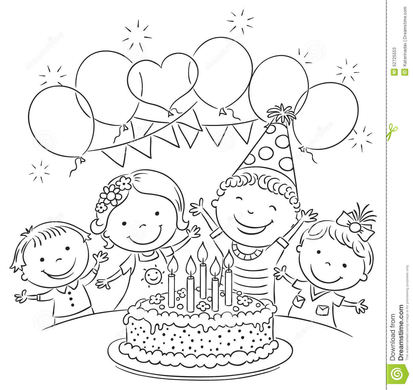Kids Birthday Party Outline Stock Vector