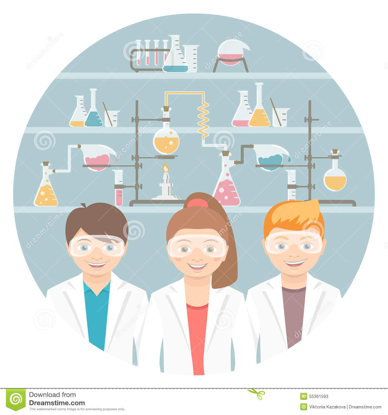 Kids In Chemistry Class Flat Education Concept Stock