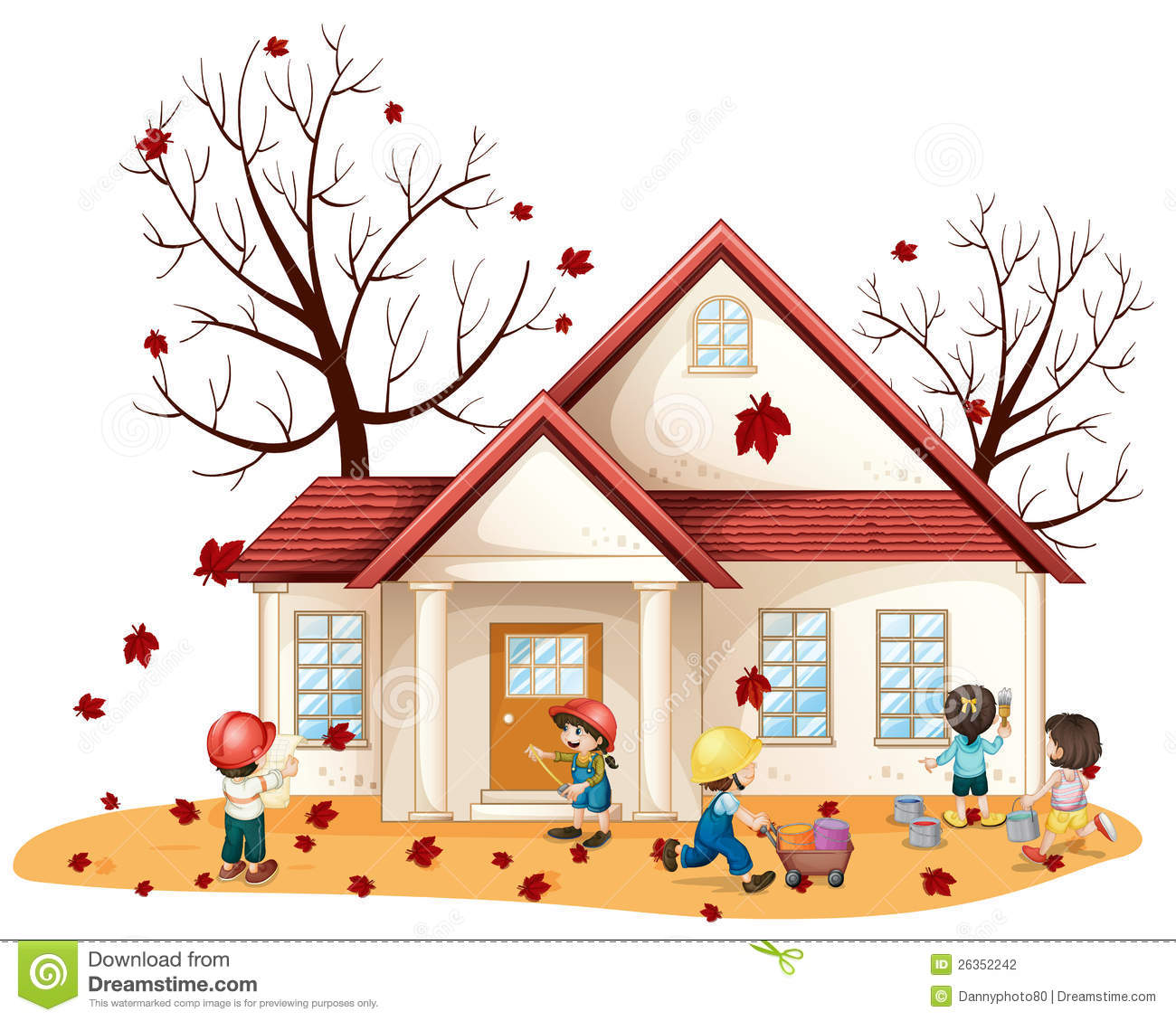 Kids Cleaning House Stock Vector Illustration Of Drawing