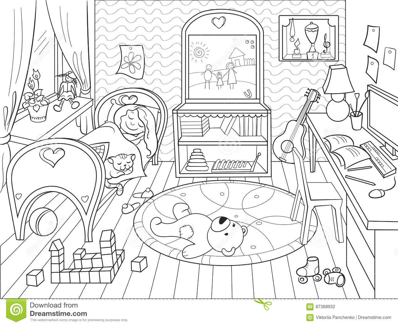 Kids Coloring On The Theme Of Childhood Room Stock Vector