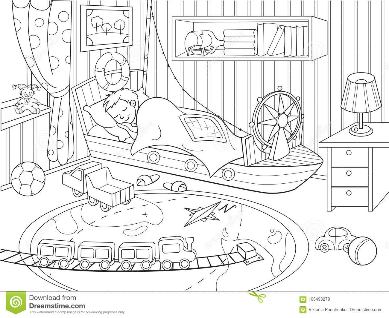 Kids Coloring On The Theme Of Childhood Room Stock