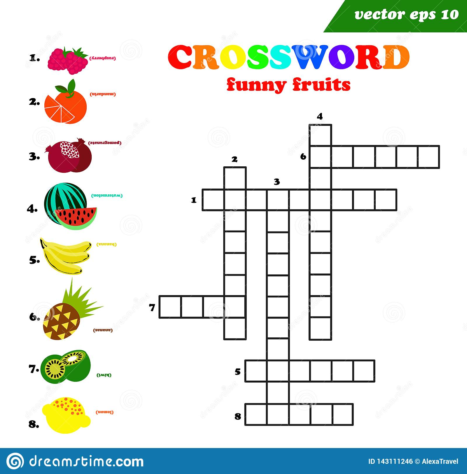 Kids Crossword With Eight Different Flat Fruits Stock