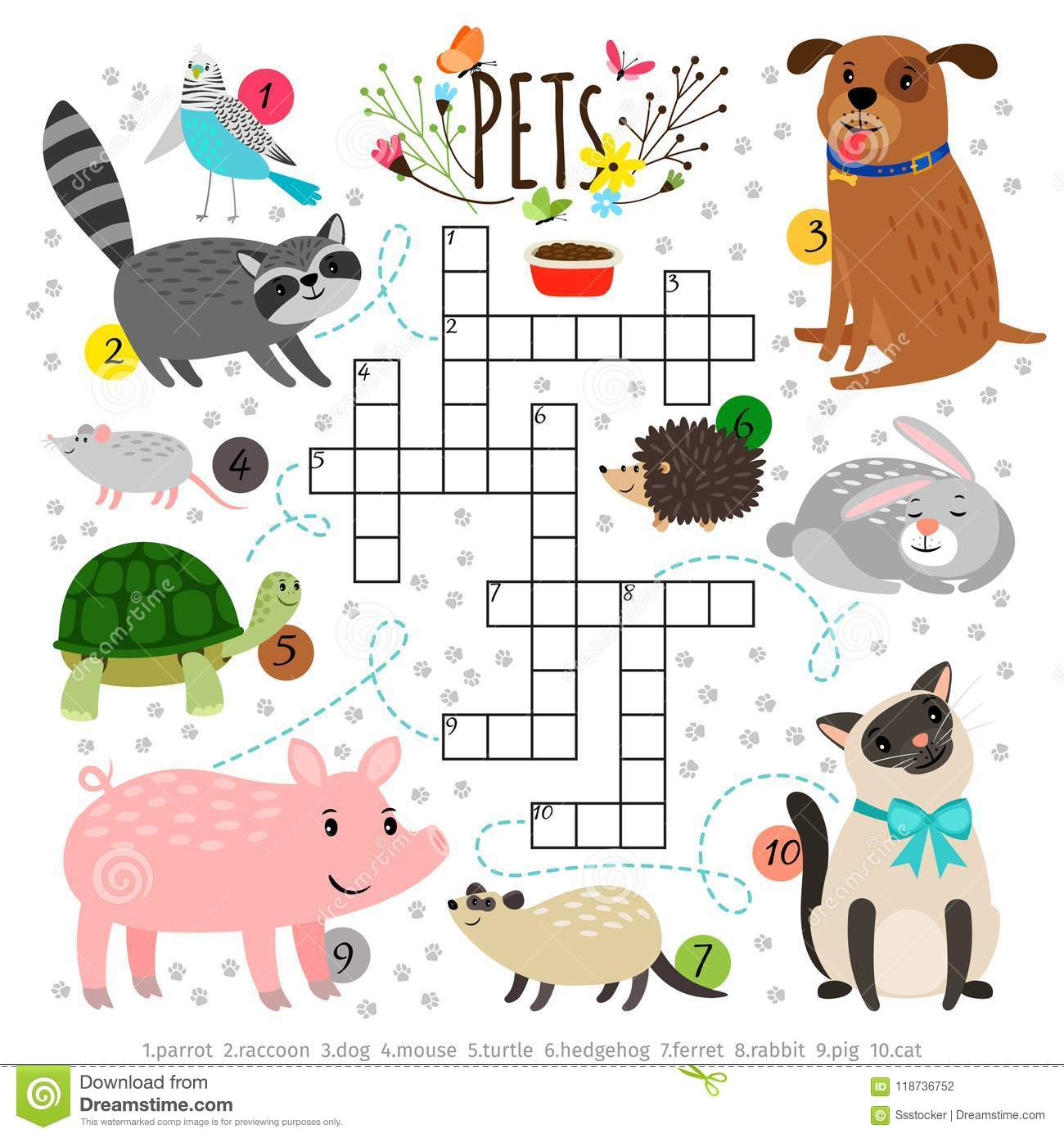 Kids Crosswords With Pets Children Crossing Word Search