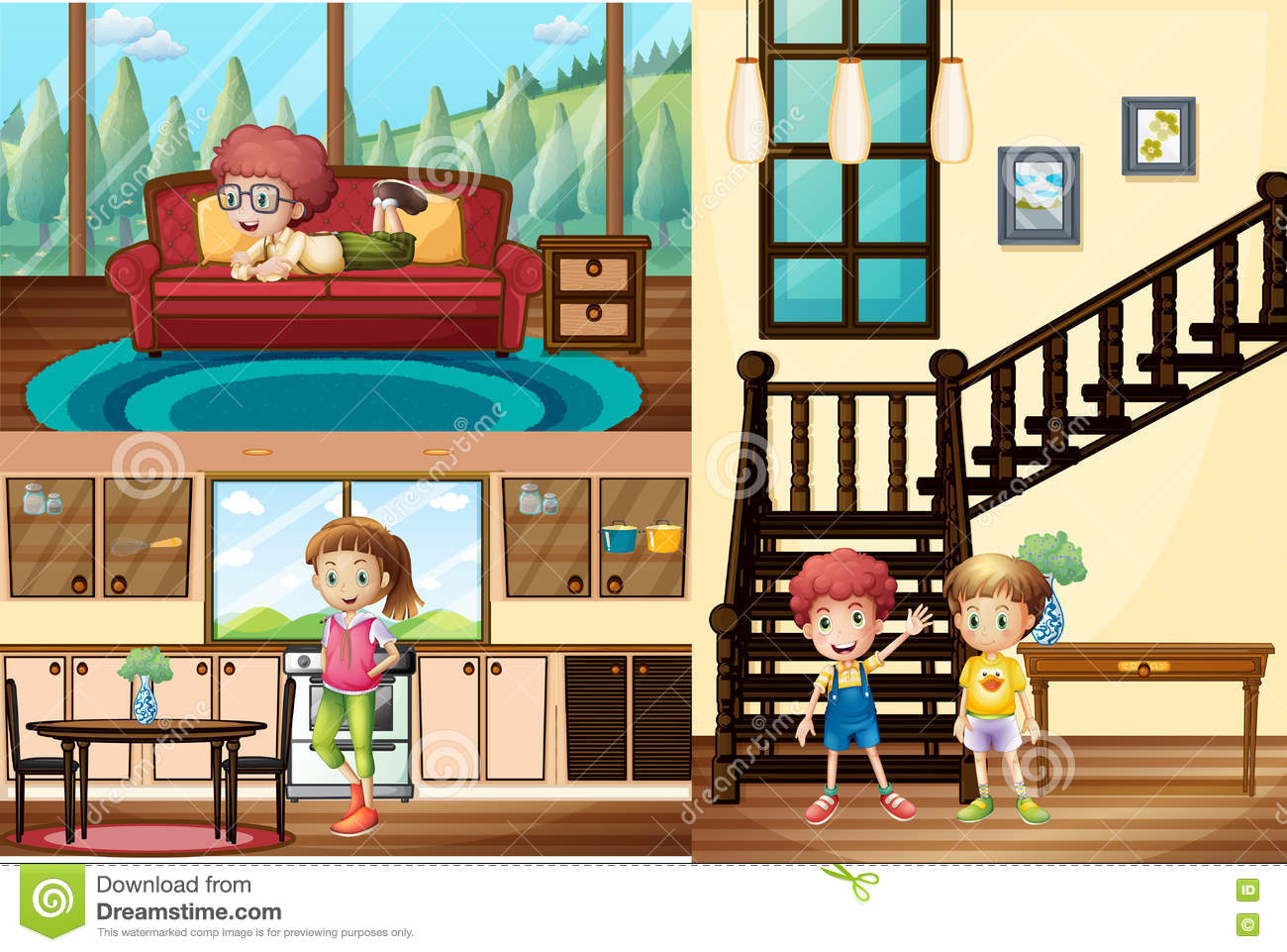 Kids In Different Rooms Of The House Stock Vector