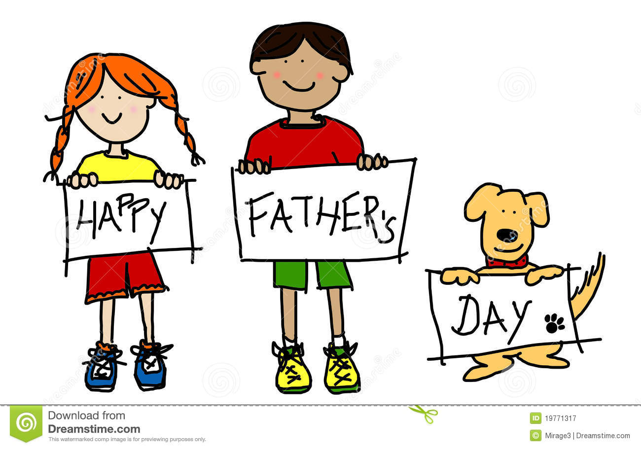 Kids And Dog Holding Empty Signs Illustration Royalty Free