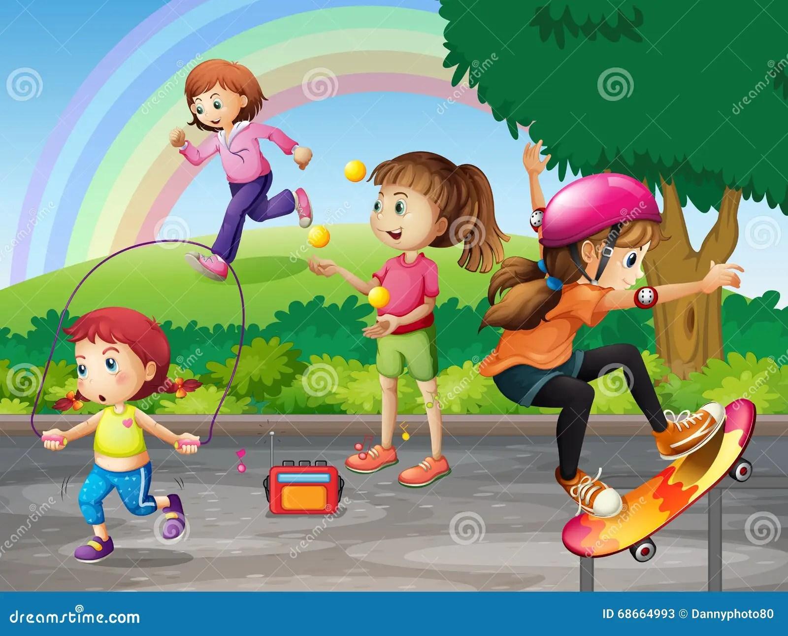 Kids Doing Activities In The Park Stock Vector