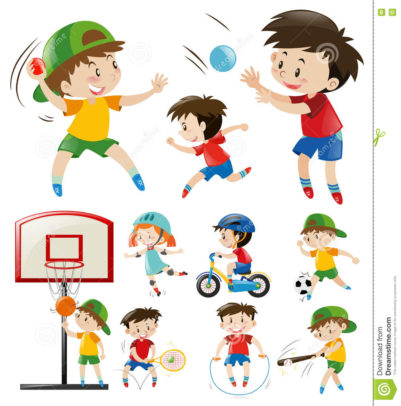 Kids Doing Different Types Of Sports Stock Vector