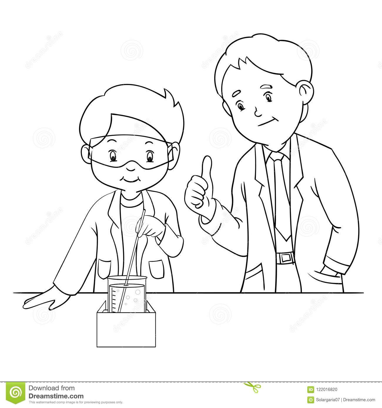Kids Doing Science Lab Experiment With Teacher Stock