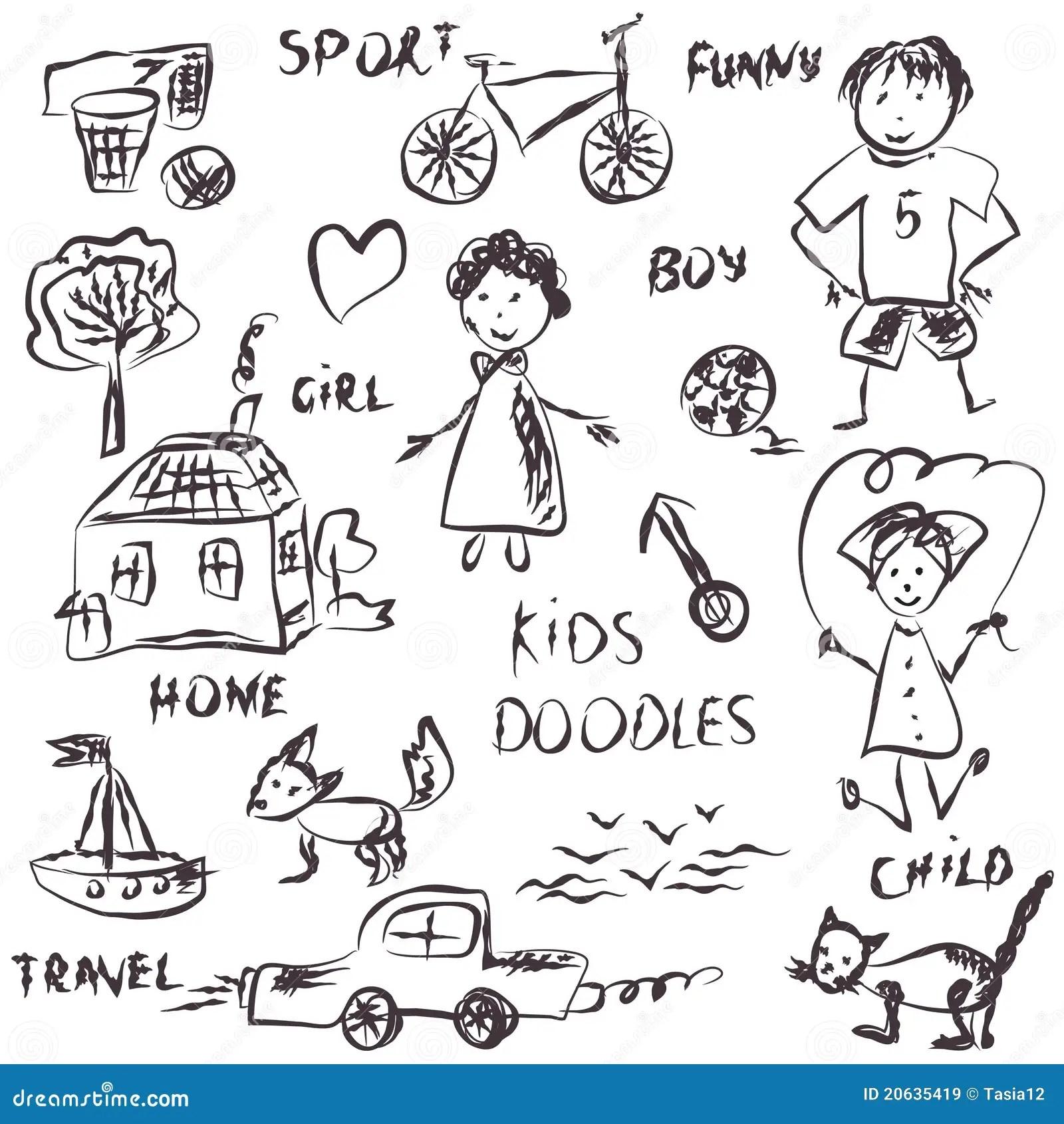 Kids Doodles Cartoon Royalty Free Stock Images