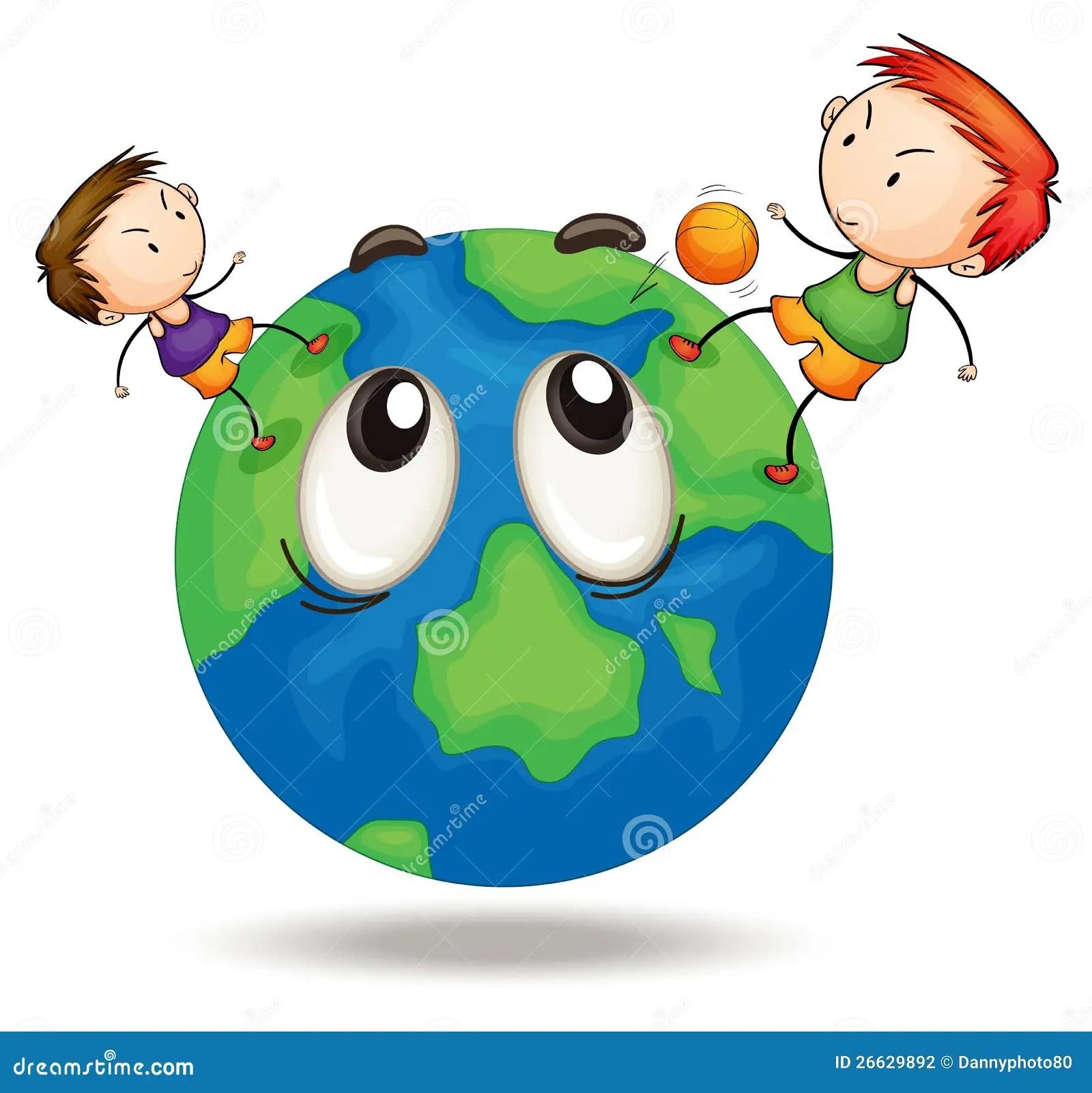 Kids On A Earth Globe Stock Illustration Illustration Of