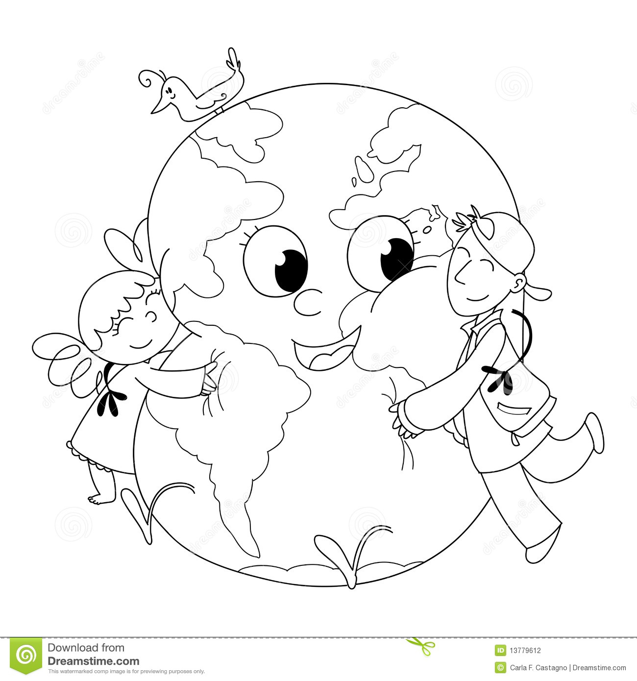 Kids Embracing Earth Bw Stock Vector Illustration Of Kids