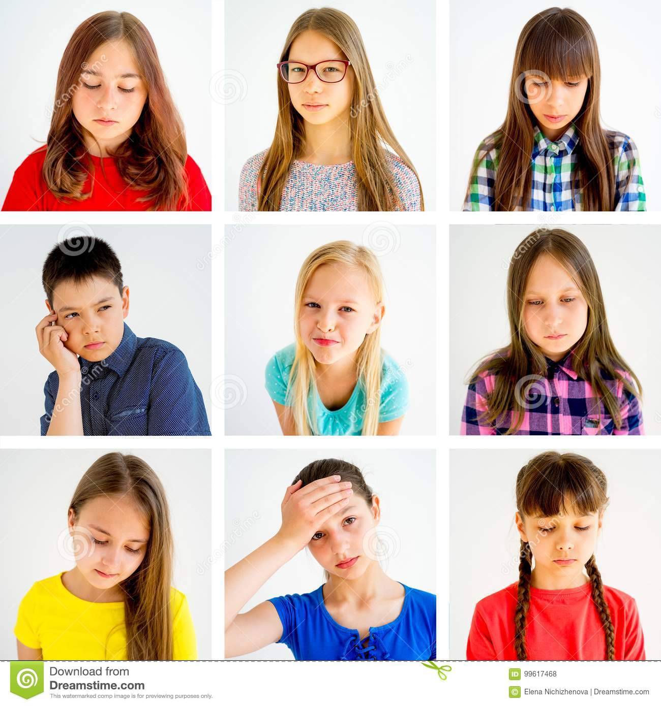 Kids Emotions Collage Stock Photo Image Of Smiling