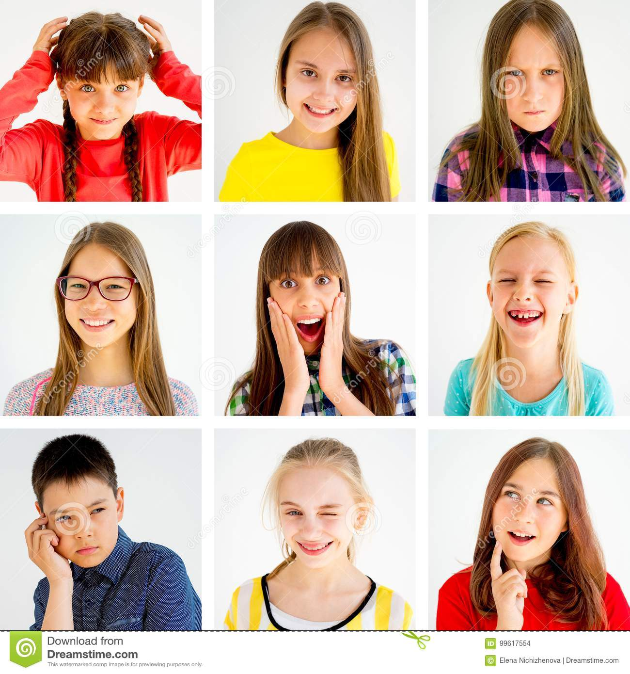 Kids Emotions Collage Stock Photo Image Of Expressive