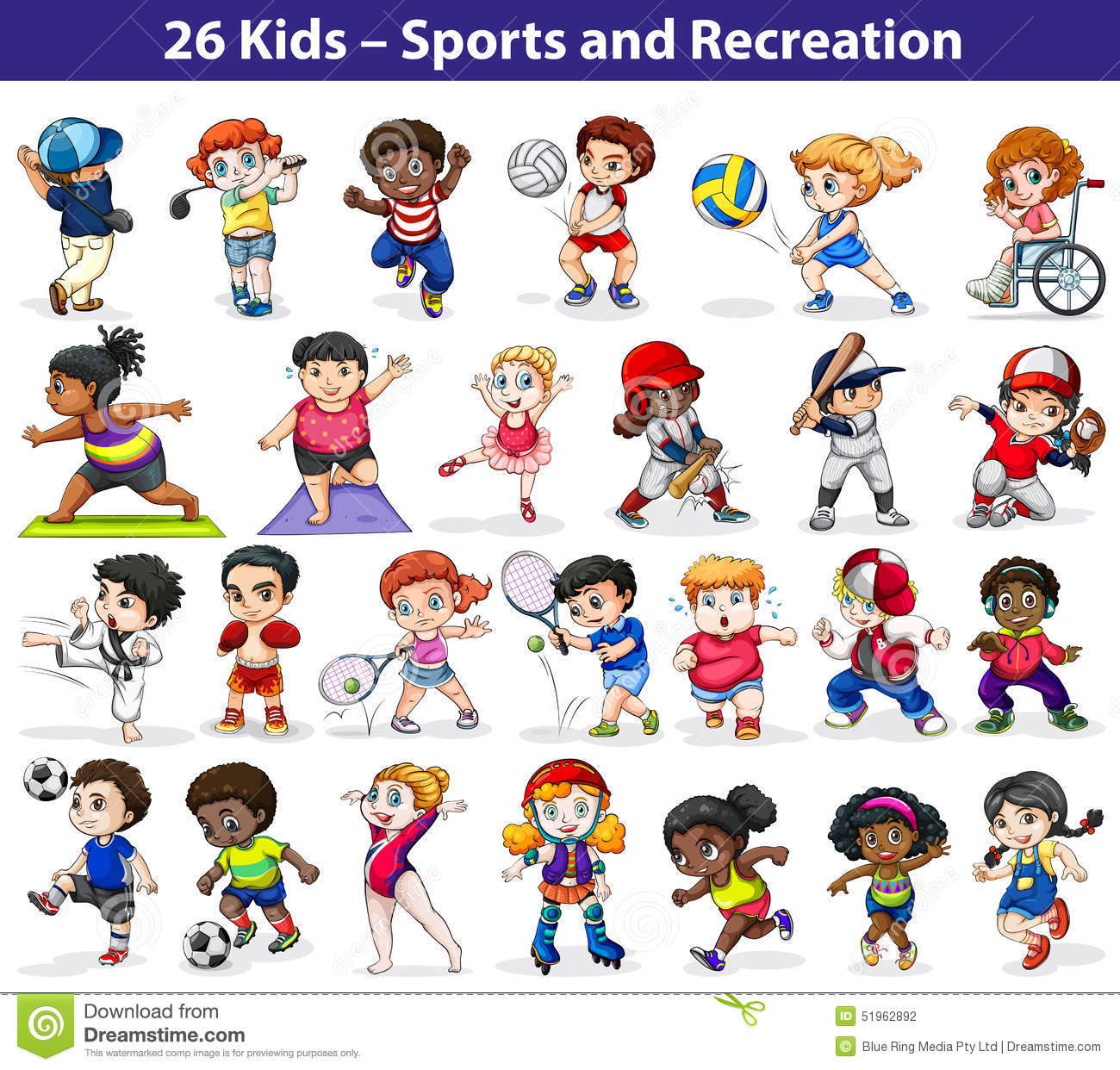 Kids Engaging In Different Activities Stock Vector