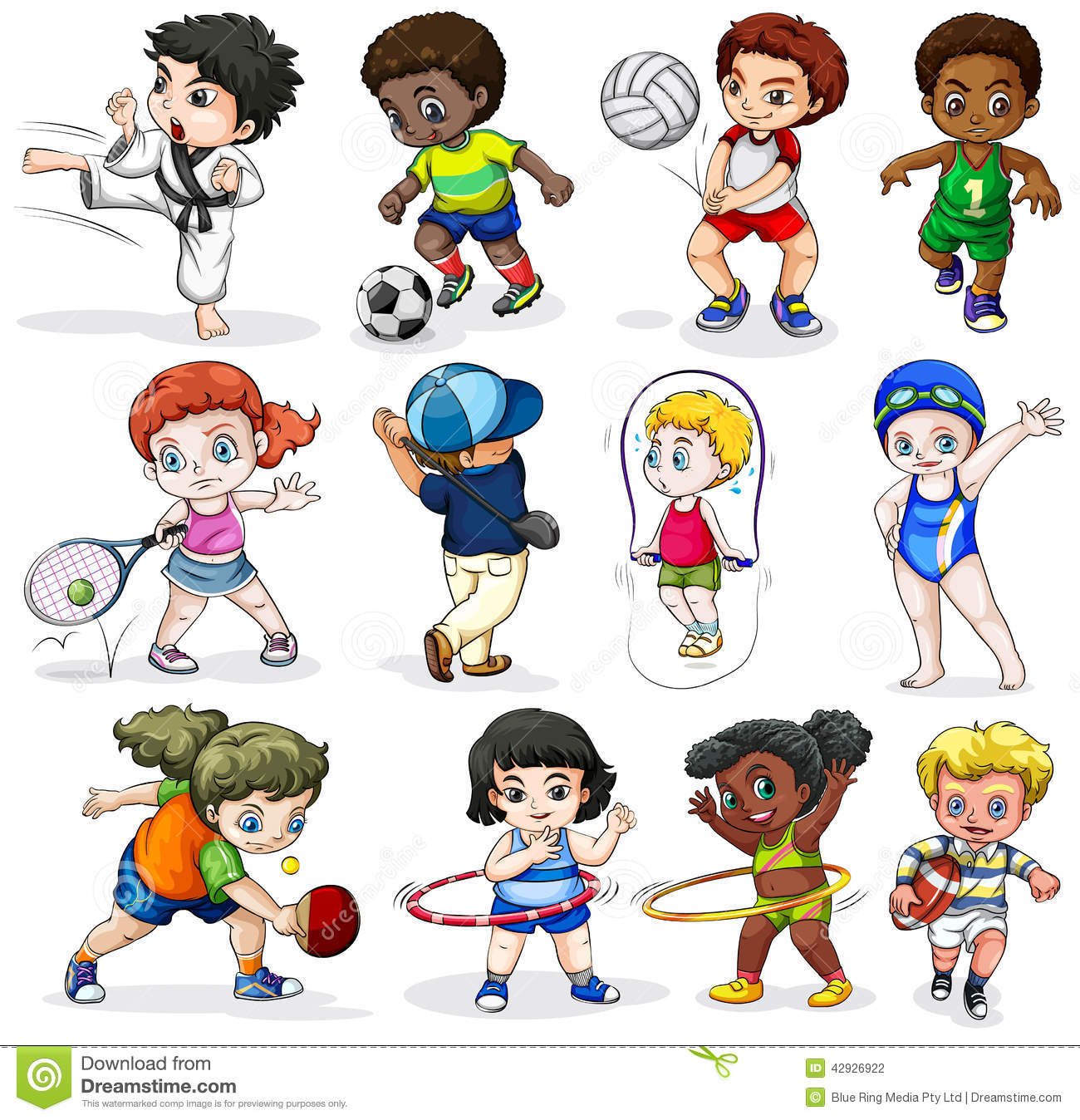 Kids Engaging In Different Sports Activities Stock Vector
