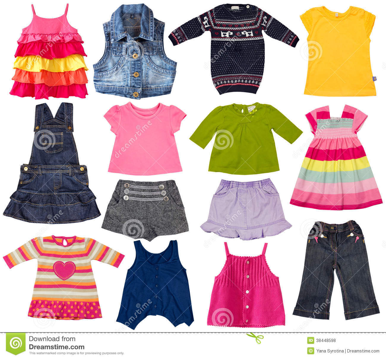 Kids Fashion Clothes Isolated On White Stock Photo