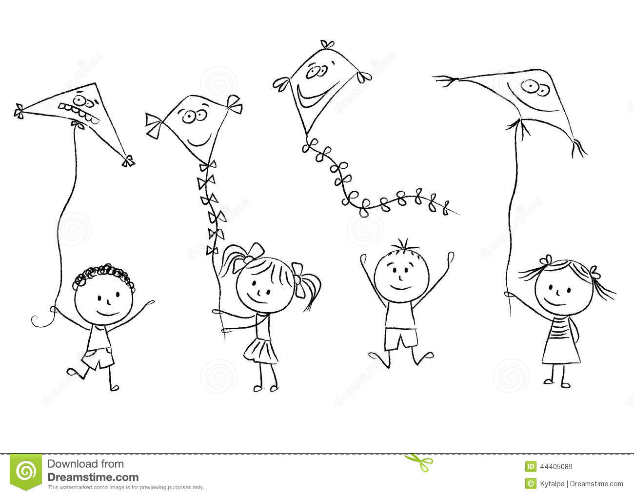 Kids With Flying Kites Stock Vector