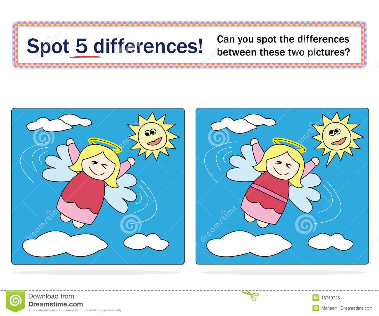 Kids Game Spot 5 Differences Royalty Free Stock Photo
