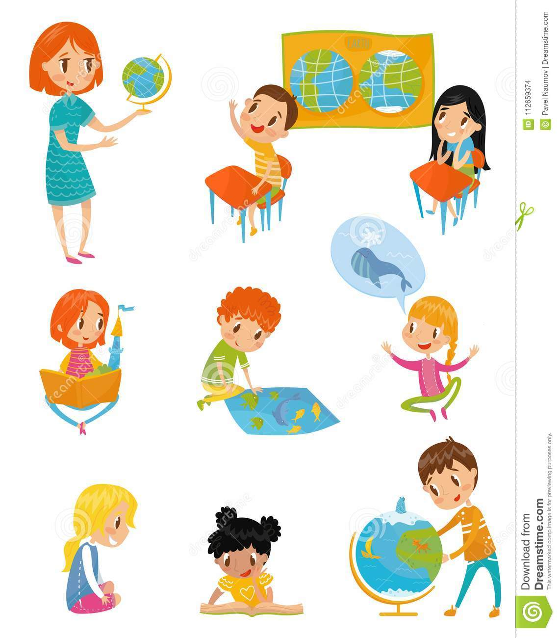 Kids At Geography Lesson Set Preschool Activities And